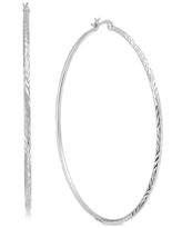 Essentials Extra Large Silver Plated Textured Large Hoop Earrings