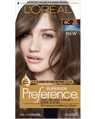 L'Oreal Paris Superior Preference Fade-Defying Shine Permanent Hair Color, 6C Cool Light Brown, 1 kit
