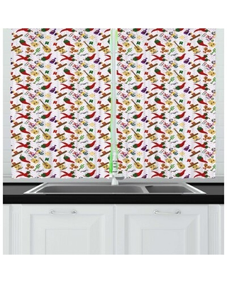 Cinco De Mayo Continuous Mexican Themed Culture Elements Pattern Kitchen Curtain East Urban Home