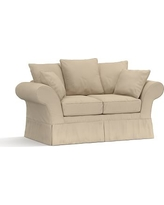 "Charleston Slipcovered Loveseat 71"", Polyester Wrapped Cushions, Twill Parchment"