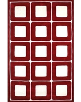 """American Home Rug Co. Modern Living Deco Blocks Red/White Rug AT061RDWH Rug Size: 3'6"""" x 5'6"""""""