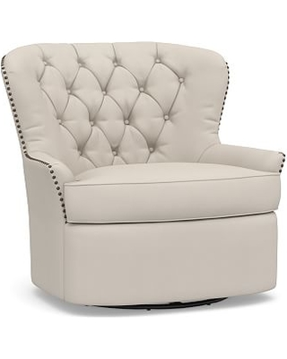Cardiff Upholstered Tufted Swivel Armchair, Polyester Wrapped Cushions, Performance Twill Stone
