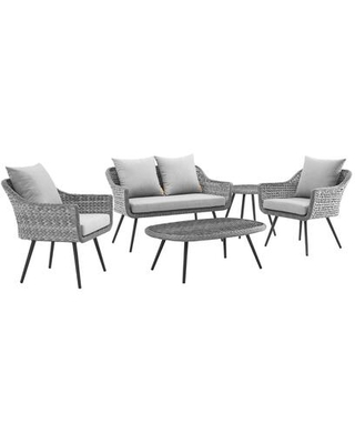Endeavor Collection EEI-3178-GRY-GRY-SET 5 PC Outdoor Patio Wicker Rattan Sectional Sofa Set in Grey and Grey