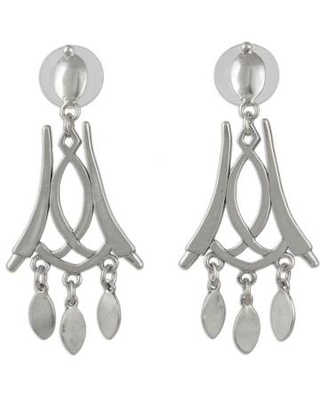 Signed Handcrafted Mexican Silver Chandelier Earrings