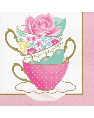 """The Party Aisle™ Floral Tea Party Teacup 6.5"""" Paper Disposable Napkins, Paper in Gold/Green/Pink, Size 6""""H X 6""""W   Wayfair"""