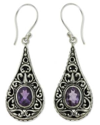 Artisan Crafted Earrings with Sterling Silver and Amethyst