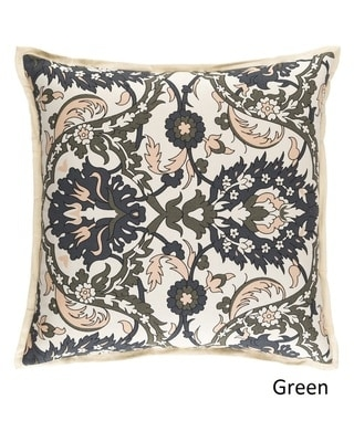 Decorative Ellijay 18-inch Feather Down or Poly Filled Throw Pillow (Polyester - Green/Yellow/White)