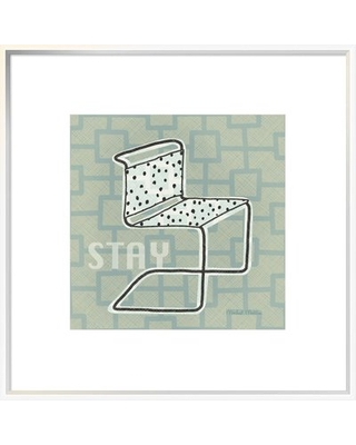 """'Retro Chair III Stay' Graphic Art Print East Urban Home Format: Collins White Framed, Matte Color: Bright White, Size: 29.6"""" H x 29.6"""" W x 1.5"""" D"""