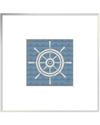 """East Urban Home 'Nautical Helm' Graphic Art Print EUHG4787 Size: 21.6"""" H x 21.6"""" W Matte Color: Bright White Format: Collins White Framed"""