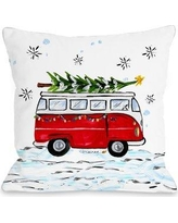 """The Holiday Aisle Christmas Bus Throw Pillow THLY3263 Size: 18"""" x 18"""""""
