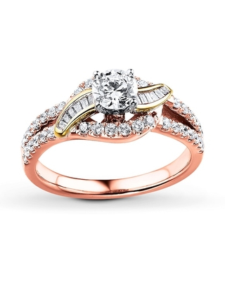 Jared Diamond Engagement Ring 7/8 ct tw Round-cut 14K Two-Tone Gold