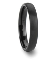 THORSTEN - AUGUSTA Ladies Domed Black Tungsten Ring with Brushed Finish - 4mm