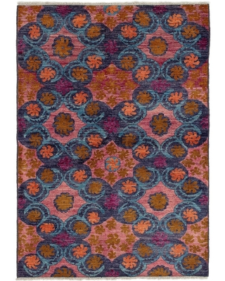 ECARPETGALLERY Hand-knotted Shalimar Salmon, Sky Blue Wool Rug - 6'0 x 8'9 (6'0 x 8'9 - Pink)