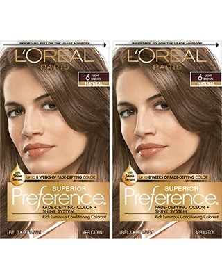 L'Oreal Paris Superior Preference Fade-Defying + Shine Permanent Hair Color, 6 Light Brown, Pack of 2, Hair Dye