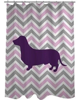 One Bella Casa Dachshund Woven Polyester Shower Curtain 70501SC71