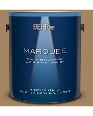 BEHR MARQUEE 1 gal. #290F-5 Wooden Swing Satin Enamel Interior Paint and Primer in One