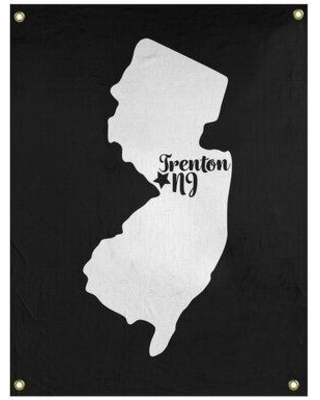 """East Urban Home Trenton New Jersey Wall Tapestry - Indoor/Outdoor EBIU5507 Size: 59"""" H x 50"""" W Color: Black"""