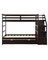 Merax Twin over Twin Stair Bunk Bed with Storage Ladder and Trundle (Espresso)