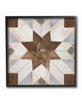 Stupell Industries Love One Another Rustic Geometric Wooden Grain Pattern Framed Wall Art Design by Front Porch Pickins