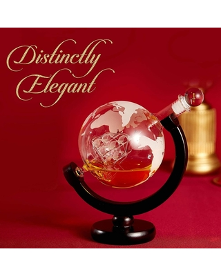 Cheer Collection Globe Etched Whiskey Decanter With Interior Hand-Crafted Glass Ship - 28oz (Clear - 28oz)