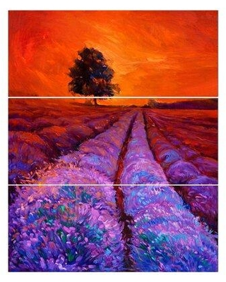 East Urban Home 'Lavender Field in Golden Sunset' Oil Painting Print Multi-Piece Image on Wrapped Canvas FCIV6453
