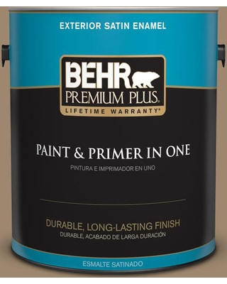 BEHR Premium Plus 1 gal. #700D-5 Toffee Crunch Satin Enamel Exterior Paint and Primer in One