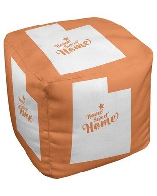 East Urban Home Home Sweet Provo Ottoman in Cube Insert (13 x 13 x 13) EBJC3296 Upholstery Color: Orange
