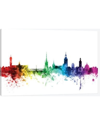 """East Urban Home Rainbow Skyline Series: Stockholm Sweden Painting Print on Wrapped Canvas USSC8017 Size: 12"""" H x 18"""" W x 1.5"""" D"""