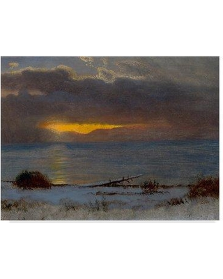 "Astoria Grand Sunrise on Lake Tahoe California 1872' Oil Painting Print on Wrapped Canvas ASTD4481 Size: 24"" H x 32"" W x 2"" D"