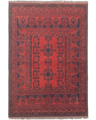 Hand-knotted Finest Khal Mohammadi Red Wool Rug ECARPETGALLERY - 3'4 x 4'10