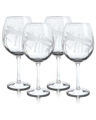 Rolf Glass Dragonfly Balloon Wine 18Oz - Set Of 4 Glasses