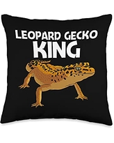 Cute Tiny Dinosaur Reptile Gecko Animals Designs Cool Leopard Gift for Men Dad Panther Gecko Lovers Throw Pillow, 16x16, Multicolor