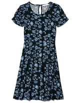 Lark & Ro Women's Lightweight Crew Neck Gathered Short Sleeve Crew Neck Fit and Flare Dress, BLACK VINE FLORAL, 0