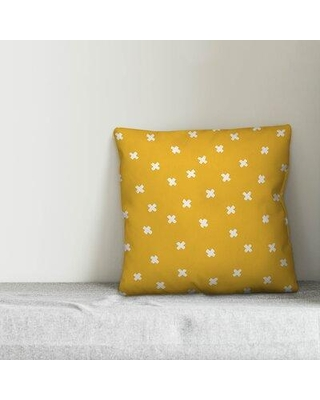 """Union Rustic Lurenda Ink Cross Throw Pillow W001881084 Color: Yellow/White Size: 20"""" x 20"""""""