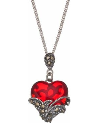 Tori Hill Sterling Silver Red Glass & Marcasite Heart Pendant Necklace, Women's