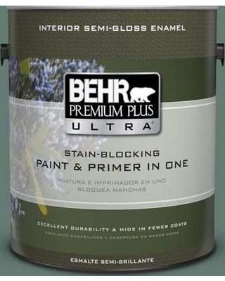 BEHR Premium Plus Ultra 1 gal. #S430-6 Forest Edge Semi-Gloss Enamel Interior Paint and Primer in One