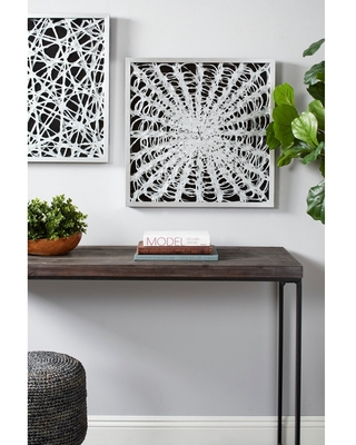 Large Square Modern Black and White Abstract Art Shadow Box Wall Decor, 23.5 x 23.5 - 24 x 2 x 24 (White - 24 x 2 x 24)