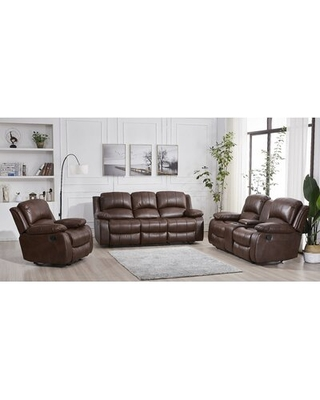 Big Savings For Destrier 3 Piece Reclining Living Room Set Red Barrel Studio Fabric Brown Faux Leather