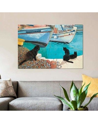 """East Urban Home 'Looking at the Fish' Graphic Art Print on Canvas EBHT2273 Size: 12"""" H x 18"""" W x 0.75"""" D"""