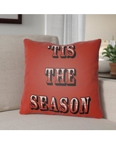 """The Holiday Aisle Tis the Season Indoor/Outdoor Throw Pillow HLDY1187 Size: 18"""" H x 18"""" W x 4"""" D, Color: Red / Green"""