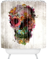 Shower Curtain - Ali Gulec Gardening Floral Skull - DENY Designs, Yellow