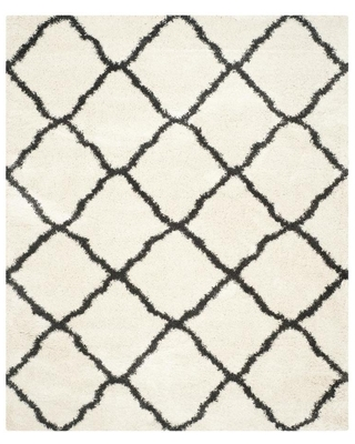 Safavieh Belize Denby Shag 9 x 12 Ivory/Charcoal Indoor Trellis Moroccan Area Rug in Black/White | SGB489B-9