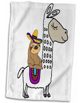 Shop For East Urban Home Caitlynn Funny Cute Sloth W Sombrero Riding Llama Cartoon Hand Towel Cotton Microfiber Terry In Brown Yellow Size 22 W X 15 D