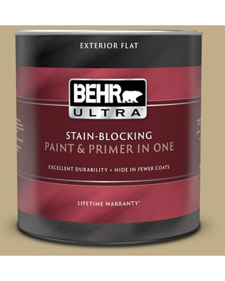 BEHR ULTRA 1 qt. #S320-4 Oat Field Flat Exterior Paint and Primer in One