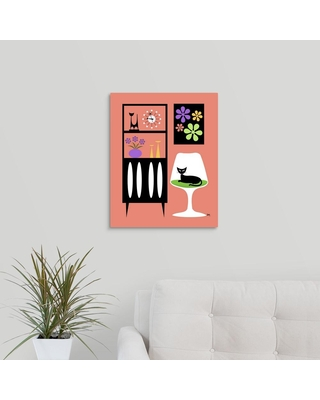 """GreatBigCanvas """"Cat in Pink Room""""by Donna Mibus Canvas Wall Art, Multi-Color"""