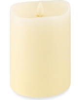 "Ivory Flickered Flameless Wax Candle, 4"" X 5"""