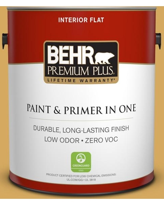 BEHR Premium Plus 1 gal. #340D-5 Galley Gold Flat Low Odor Interior Paint and Primer in One