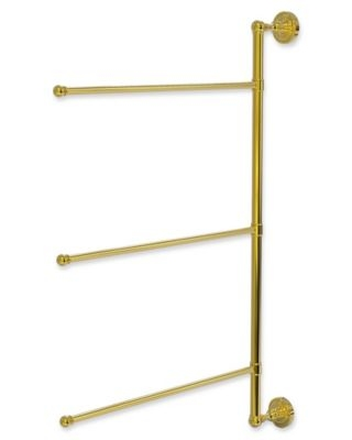 Allied Brass Dottingham 3-Swing Arm Vertical 28-Inch Towel Bar in Polished Brass