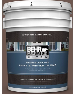 BEHR Premium Plus Ultra 5 gal. #N170-6 Natural Bark Satin Enamel Exterior Paint and Primer in One