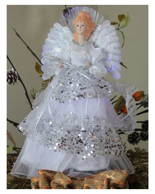 Angel Christmas Tree Topper in Sequined Gown Northlight Seasonal
